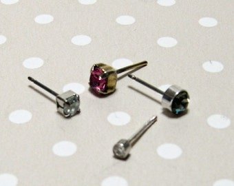 Set of 4 Lovely Rhinestone Post Earrings Perfect for Mixed Media Art Project Steampunk