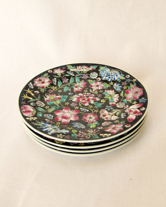 4 Vintage Retro Chinese Side Plates in Beautiful Floral Pattern