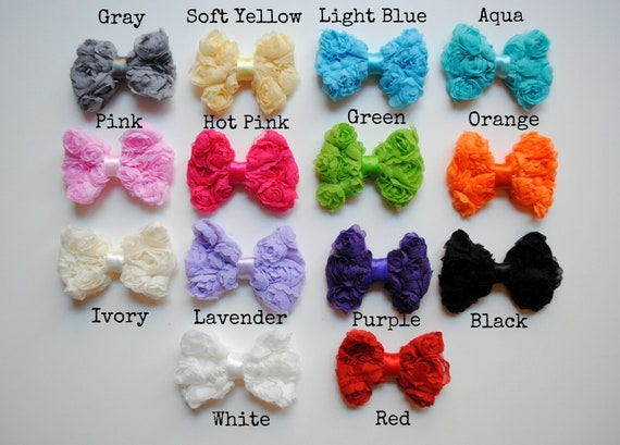 Mini Shabby Rosette Bows - Your choice of 14 colors - Check color availability in description! You choose: 1 Piece, Set of 5, or Set of 10