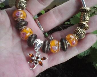 Fall colors, Euro style bracelet