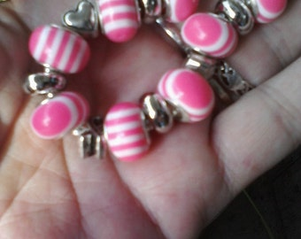 Breast cancer awareness, Euro style bracelet