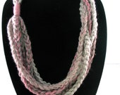 Free US Shipping: Fuchsia Dark Gray and Silver Crocheted Rope Chain Necklace