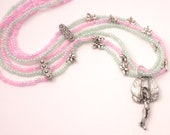 Fairy Necklace with Silver Dragonflies in Pink and Green
