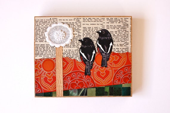 Red Robin Lino Print Collage - OOAK - Made in Australia
