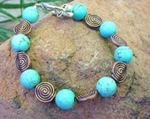 Torquoise Howlite Bracelet with Spiral Copper Beads. CALMING. Made to Order.
