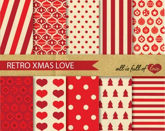 Christmas Patterns Digital SCRAPBOOKING Papers VINTAGE Paper pack Red XMAS Background Printable Christmas clipart Polka Dot Papers