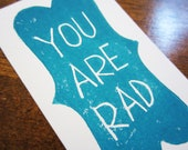 """You Are Rad Card with Envelope - Business Card Size Linocut - 2"""" x 3 1/4"""" - Blue"""