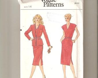 UNCUT Vogue Sewing Pattern 7585 for Jacket, Dress and Belt, Sz 14, 1970s