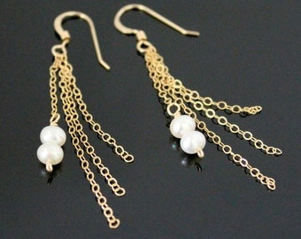 TASSEL Gold Earrings with Freshwater Pearl - 14k Gold Filled or Sterling Silver, Simple Tiny Pearl Earrings, Long Gold Earrings.
