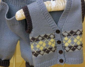 Baby Boys Argyle Vest and pants  P027