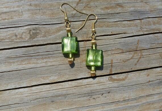 Irish Green Polished Glass Earrings