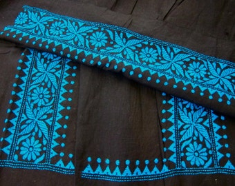 Black Turquoise cotton Kantha embroidery fabric patches