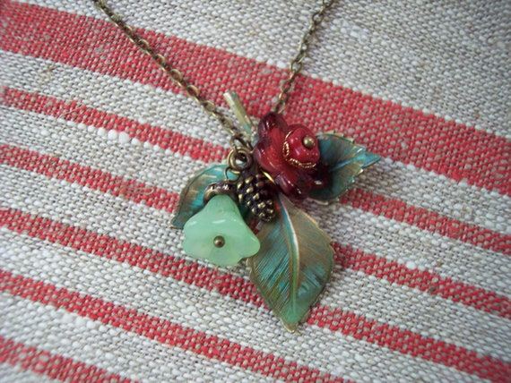 RESERVED ROSE SPRIG Necklace Shabby Chic Gift for Gardeners Summer Jewelry Verdigris Beauty of Nature Fresh Flower