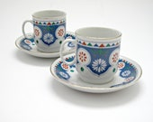 Vintage Scandinavian Style Espresso Cups and Saucers