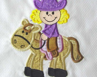 COWGIRL Applique and Embroidered Quilt Block by Amy