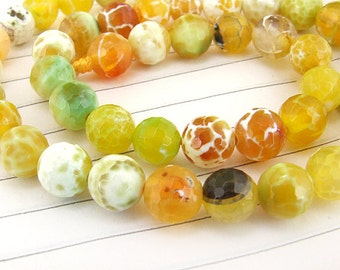 "Big Round Faceted Full Strand Dragon Yellow Agate Beads ----- 8mm ----- about 47Pieces ----- gemstone beads--- 15"" in length"