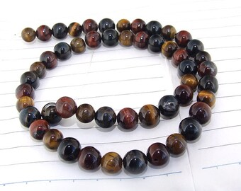 """One Full Strand -- Charm Luster Rainbow  Tiger Eye Stone Gemstone Beads--- 8mm ----about 50Pieces---- 15"""" in length"""