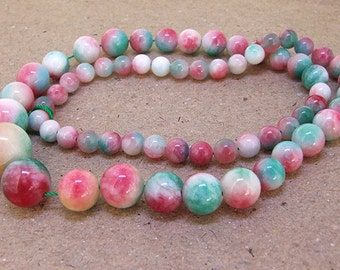 "Full Strand Round Multicolor  Rainbow Jade Beads ----- 6mm-20mm ----- about 60Pieces ----- gemstone beads--- 15"" in length"