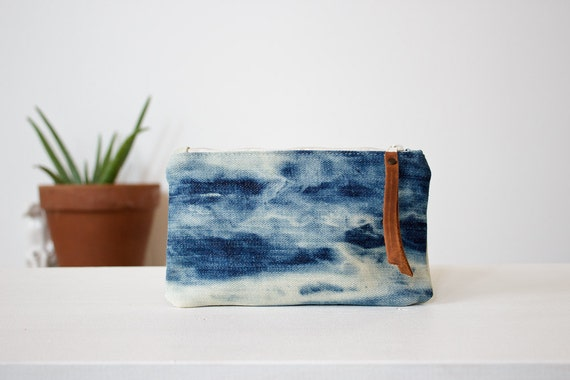 zippered wallet, reverse tie dye