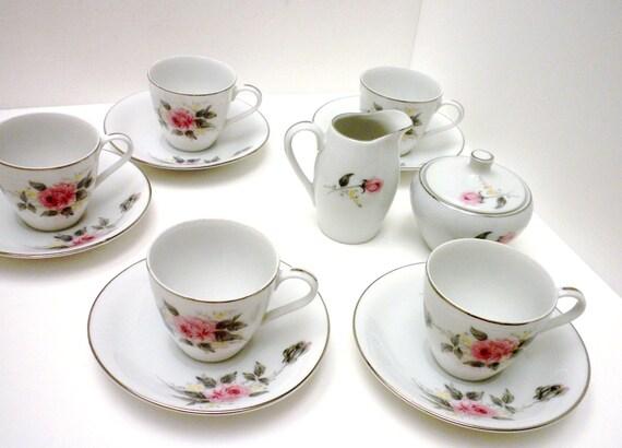 Tea Set Little Girls Platinum Rose China Set By Oldandnew8 On Etsy