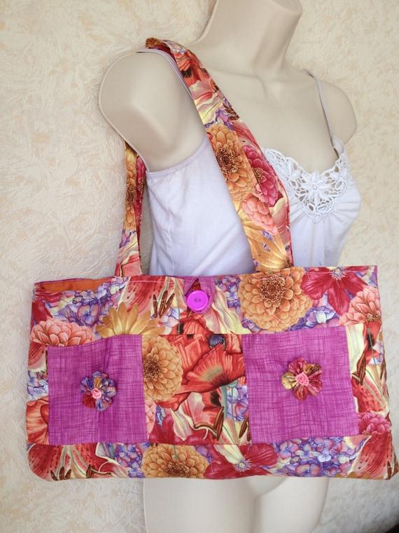 Unique Colourful Womens,teens Boho Quilted Oriental Flower Designer Handmade tote,shoulder, Handbag /Bag/Purse,pinks,oranges,poppies.