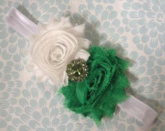 Infant Headbands - Baby Headbands - Newborn Headbands - Green and White Shabby Chic Rosette Headband - Photo Prop - St. Patricks Day - Irish