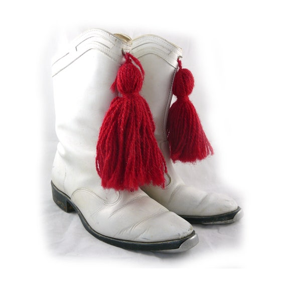 amazing vintage white majorette boots red tassels taps