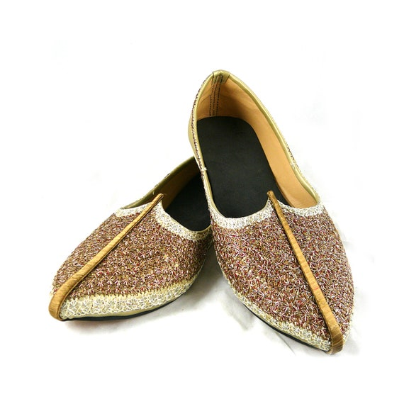 Magical princess Jasmine / I dream of Jeannie gold and copper arabian slippers 8.5 9 M metallic ballet flats Aladdin shoes