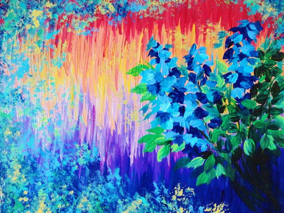 SALE - Original Acrylic Floral Painting 16 x 20 FREE SHIPPING Bold Vibrant Colours Rainbow Ombre Effect Royal Blue Flowers Red Peach Purple