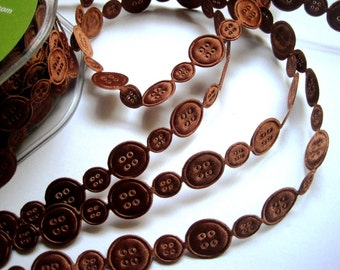"""Sewing Buttons Satin Ribbon Chain, Brown, 5/8"""" inch, 1 Yard, For Srapbook, Stationary, Accessories, Home Decor, Romantic Crafts"""