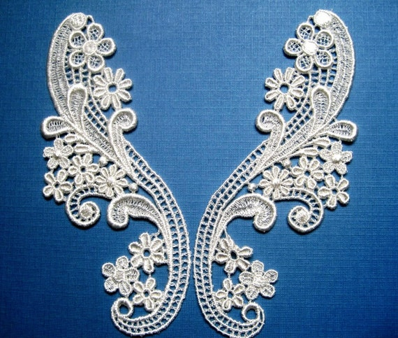 Victorian Venice Lace Appliques, Ivory, x 2, For Romantic & Victorian Crafts