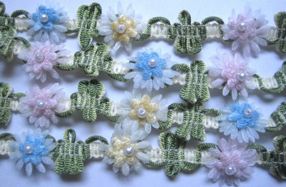 """Decorative Organza Flower Chain With Pearls, Pastels / Multi-Color, 5/8"""" inch, 1 Yard, For Victorian & Romantic Crafts"""