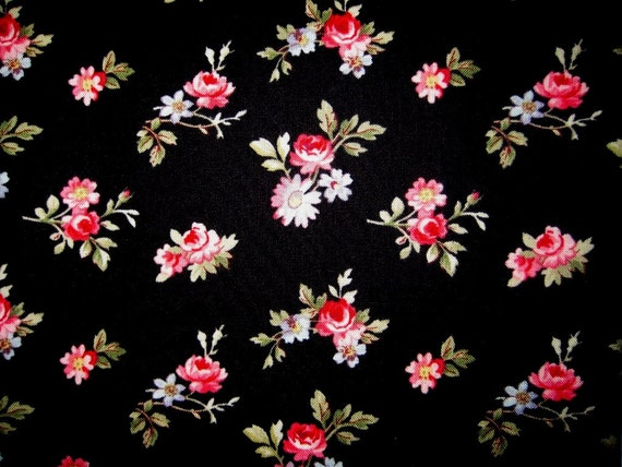 "Roses Bouquets Fabric, Fat Quarter, Multicolor / Black, 18"" X 22"" inches, 100% Cotton, For Victorian & Romantic Projects"