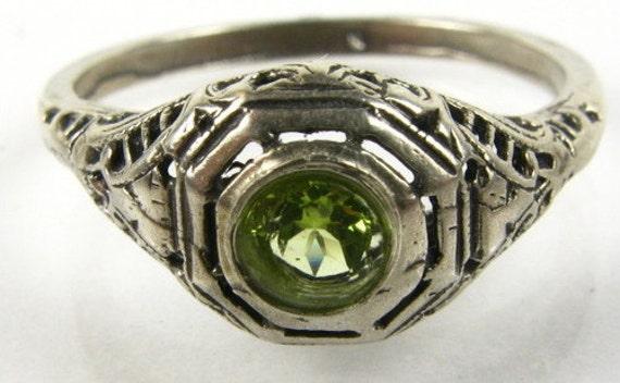 Silver Peridot Filigree Ring