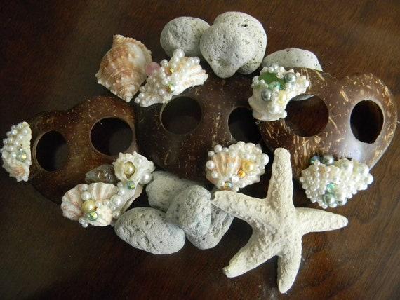 Sarong Clip or Scarf Clip Coconut Sea Shell  Sea Glass Pearl Rhinestone Hair Clip, Beach Accessories, Shell Hair Accessories