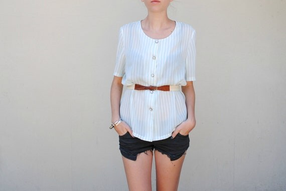 SALE MAE.VALENTE Vintage Blue and White Striped Button Up Blouse
