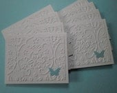 Set of 8 White Embossed with Light Blue Butterfly Mini Cards with No Envelopes