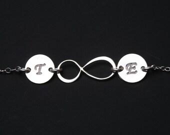 Infinity initial bracelet,custom monogram bracelet,Couple initials,custom font,Anniversary gift,sisterhood bracelet,wedding gift