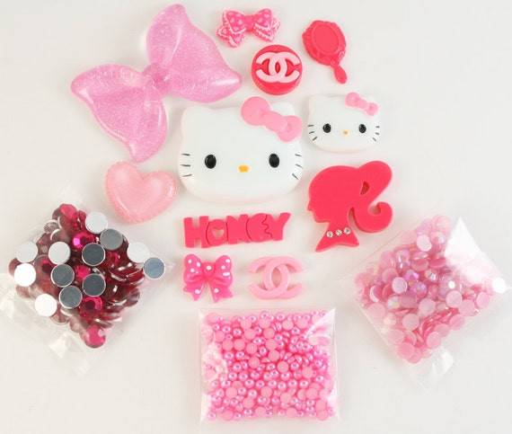 Kawaii 100 percent PINK DIY deco kit to bling out your phone - Set 141A