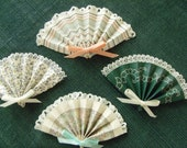 Vintage Wallpaper Mini Folded Fans With Tiny Lace Attached-Peaches-Greens Set