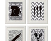 Black White Greys Unframed Kitchen Utensils Art Collection  -Set of (4) - 8x11 Prints - antinoropixelprints
