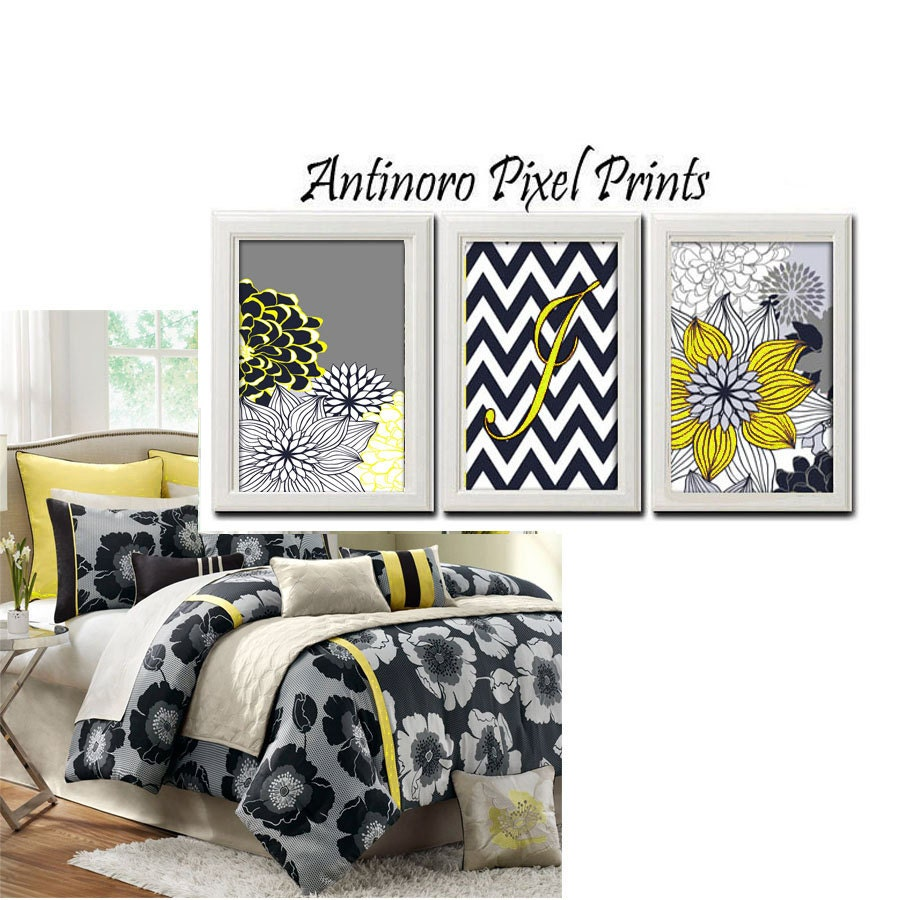 floral navy yellow grey white wall art by antinoropixelprints. Black Bedroom Furniture Sets. Home Design Ideas