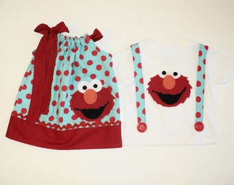 Custom Boutique Elmo Pillow Case dress and T Shirt w Suspenders, Bro Sis Set