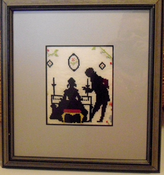 Vintage Dutch Colonial Silhouettes Needlepoint Framed Matted Under Glass, Victorian silhouettes wall hanging