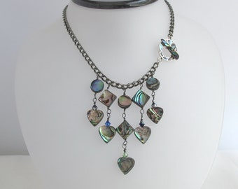 CLEARANCE - Abalone Hearts on Gunmetal Chain with Abalone Toggle Front Clasp