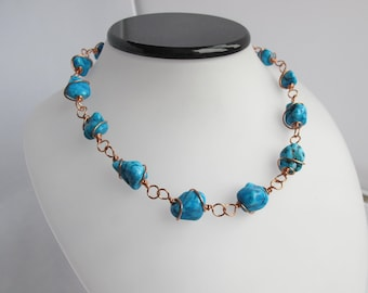 CLEARANCE - Copper Wrapped Turquoise Nugget Necklace