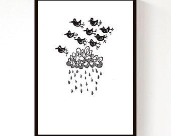 Lino Print - Storm Birds