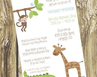 Safari Baby Shower Invitations - Gender Neutral, DIY Printable, digital file (item 1039)