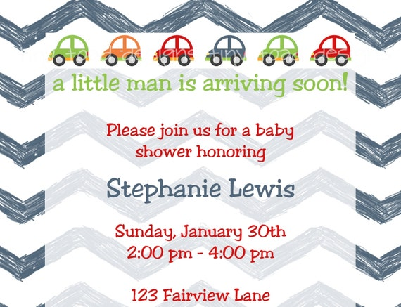 A little man is arriving soon- Little Cars and Chevron Baby Shower Invitation/Birthday Invitation, DIY Printable, digital file (item 1040)