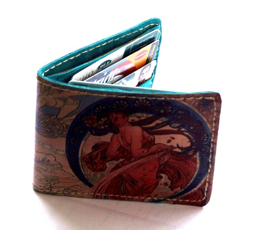 Printed Leather Women s Wallet, Leather Mucha Wallet, Art Nouveau wallet, Ladies Turquoise Blue Wallet, Gift for Her, Bright Ladies bi fold